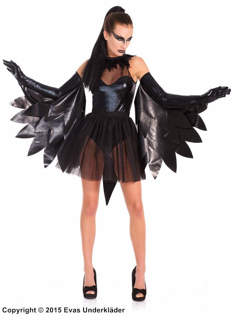 Svart svan-dräkt med vingar i lamé 3ff5e6bd71944
